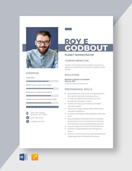 Filenet Administrator Resume Template