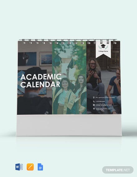 Free Academic Desk Calendar Template