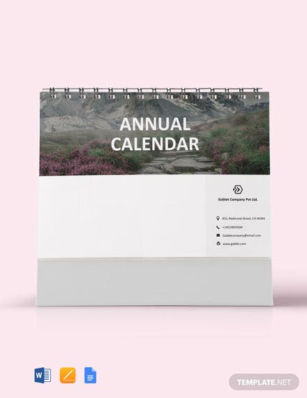Free Annual Desk Calendar Template