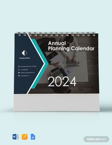 Free Annual Planning Desk Calendar Template