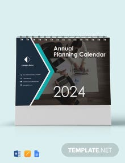 Annual Planning Desk Calendar Template