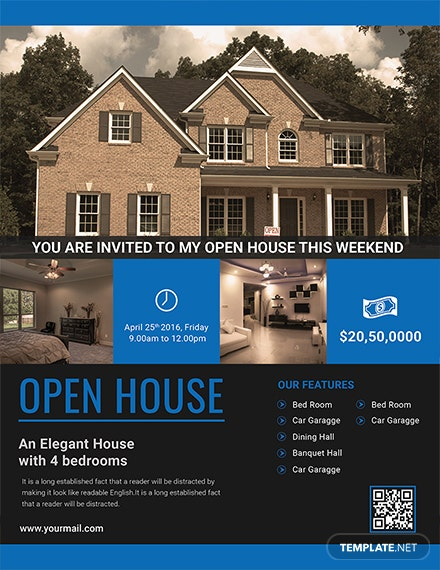 open house viewing event flyer template 1x