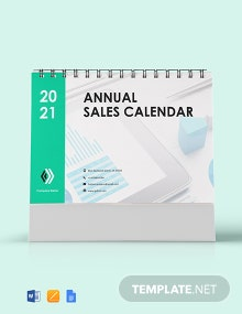 Free Annual Sales Desk Calendar Template