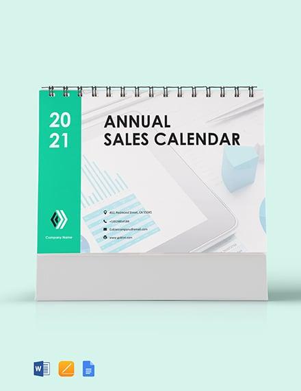 Annual Sales Desk Calendar Template