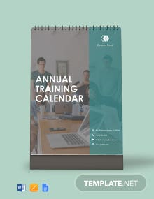 Free Annual Training Desk Calendar Template
