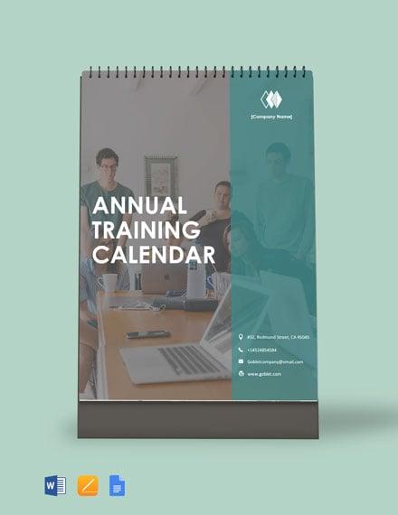 Annual Training Desk Calendar Template