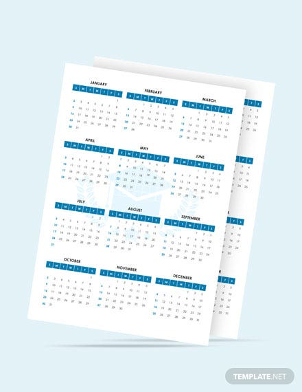Blank Academic Desk Calendar Template