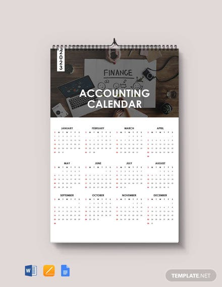 Free Blank Accounting Desk Calendar Template