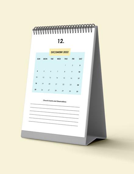 Church Event Desk Calendar Download