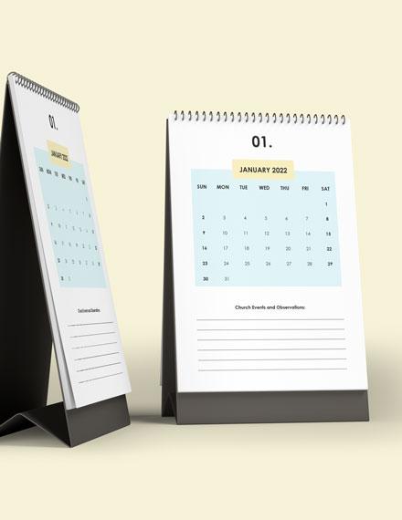 Church Event Desk Calendar Template