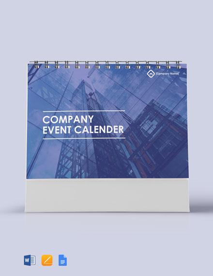 Free Company Event Desk Calendar Template