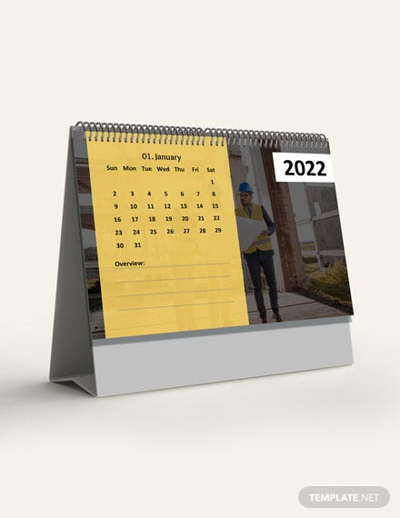 Construction Project Desk Calendar Template  - Word, Apple Pages