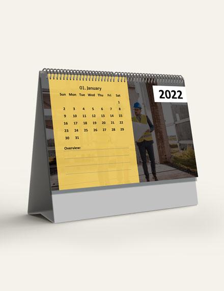 Construction Project Desk Calendar Template