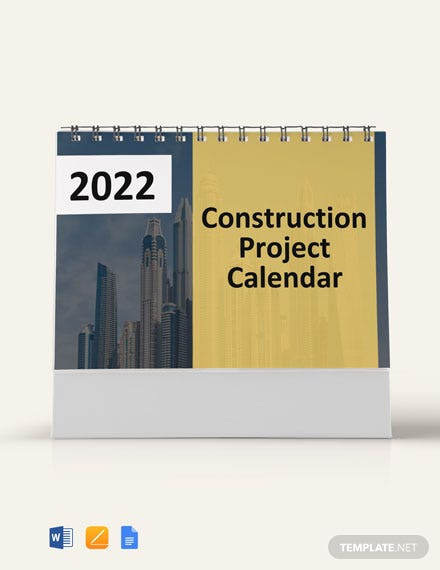 Free Construction Project Desk Calendar Template
