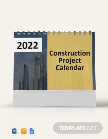 Construction Project Desk Calendar Template