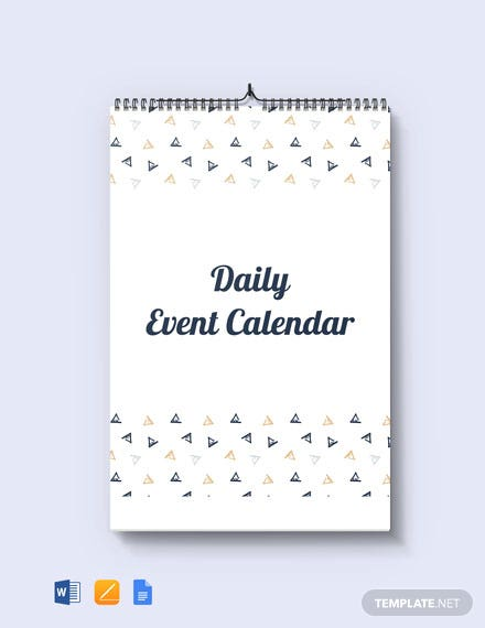 Free Daily Event Desk Calendar Template