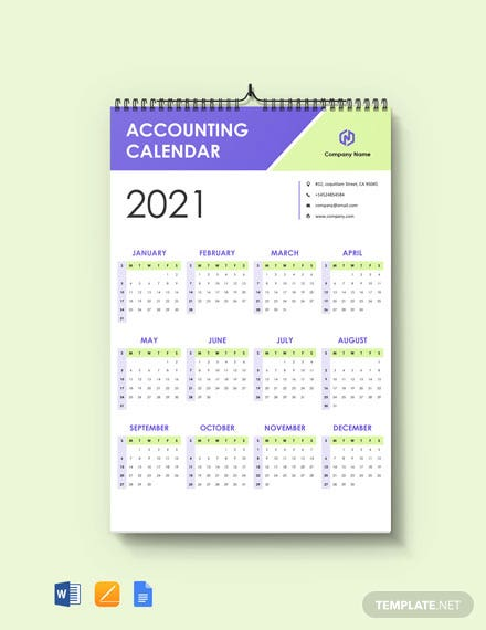 Free Editable Accounting Desk Calendar Template