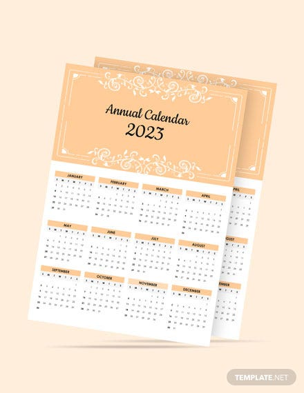 Editable Annual Desk  Calendar Template