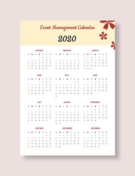 Event Management Desk Calendar Download