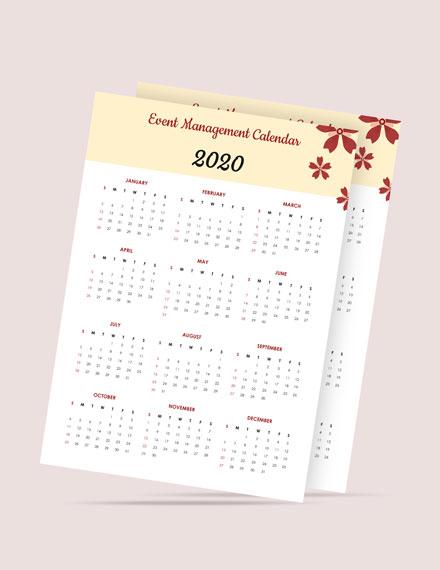 Event Management Desk Calendar Template