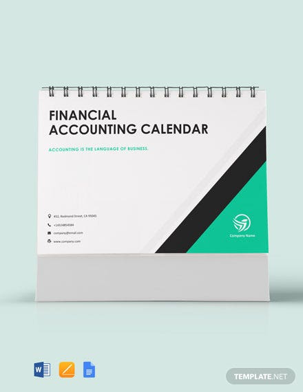 Free Financial Accounting Desk Calendar Template