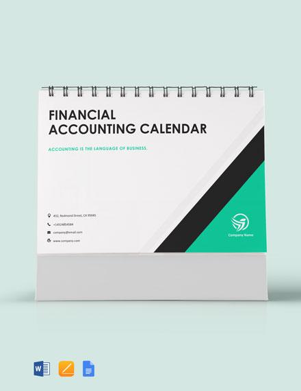 Financial Accounting Desk Calendar Template