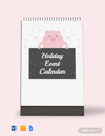 Free Holiday Event Desk Calendar Template