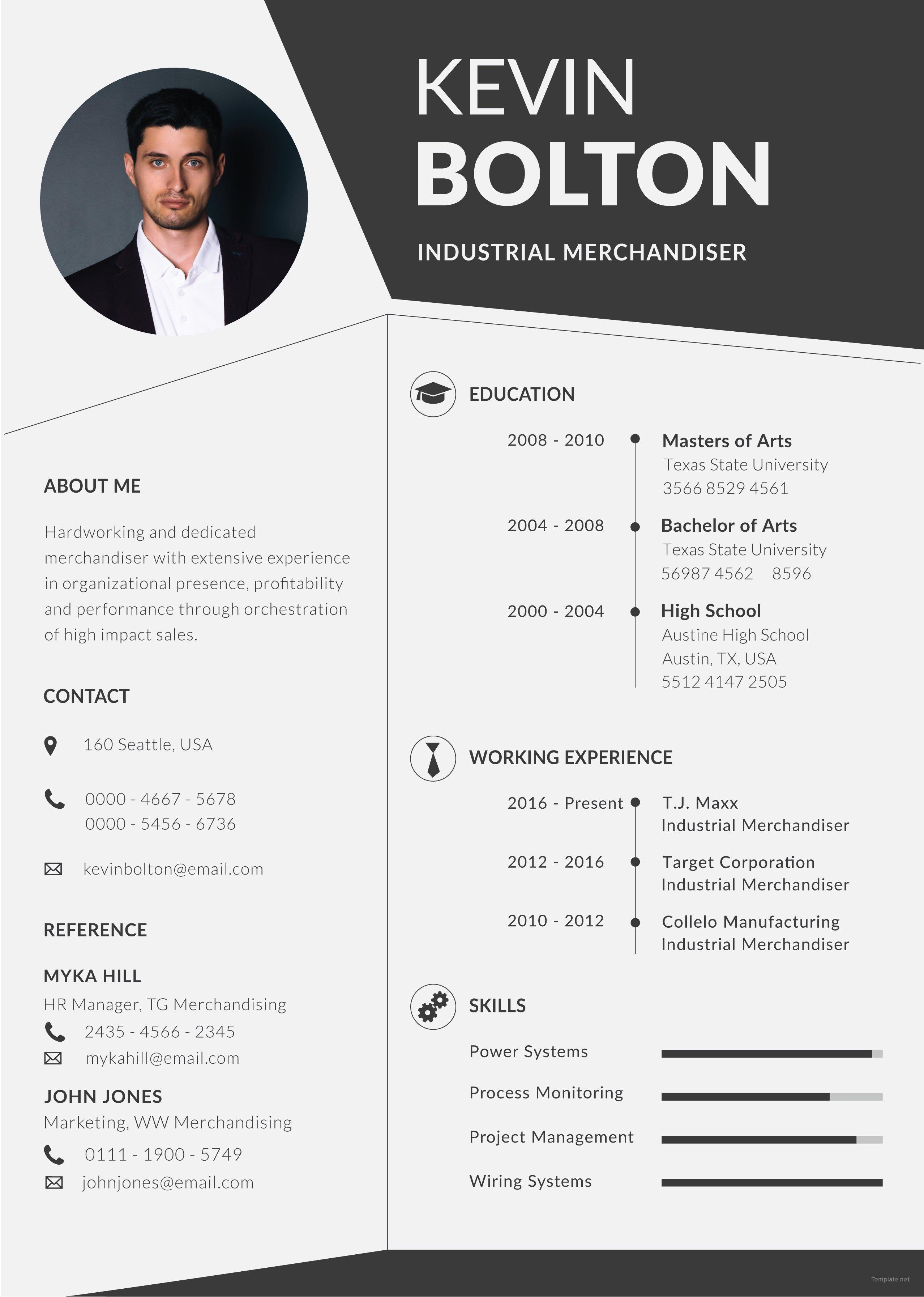 free merchandiser resume and cv template in illustrator