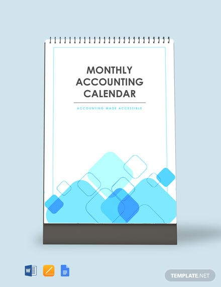 Free Monthly Accounting Desk Calendar Template