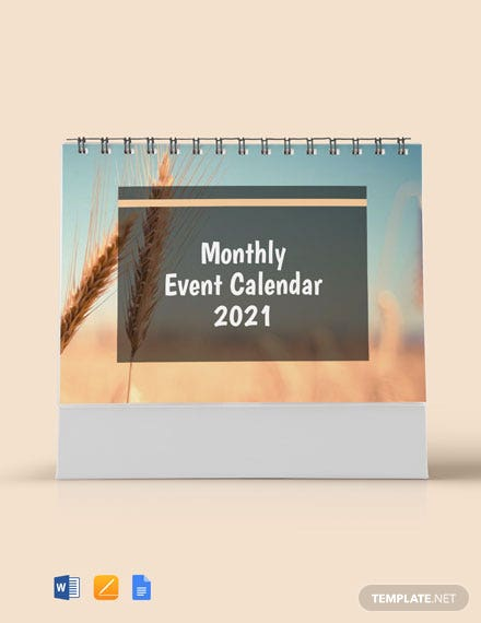 Free Monthly Event Desk Calendar Template