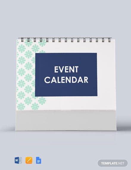 Free Printable Event Desk Calendar Template
