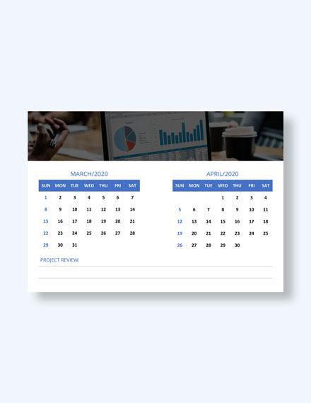 Printable Project Desk Calendar Download