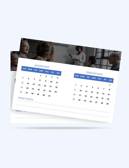 Printable Project Desk Calendar Template