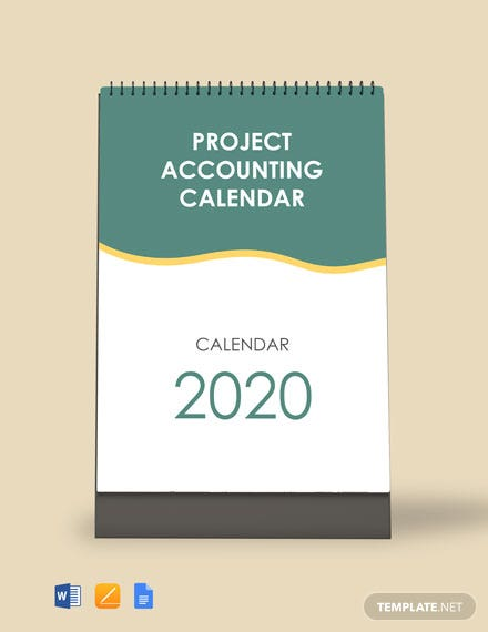 Free Project Accounting Desk Calendar Template