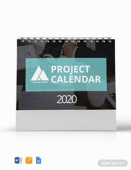 Free Project Desk Calendar Template
