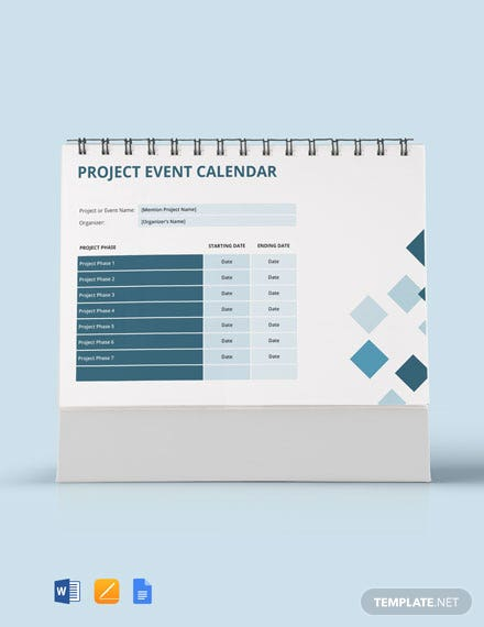 Project Event Desk Calendar