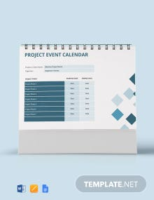 Free Project Event Desk Calendar Template