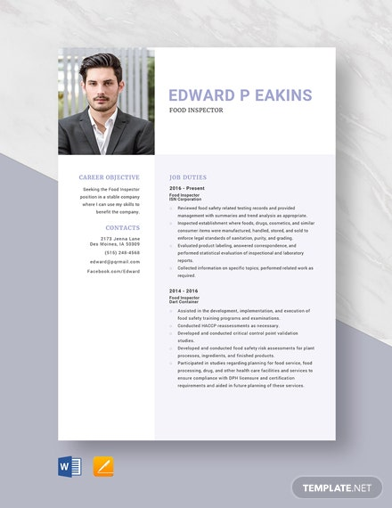 Food Inspector Resume Template