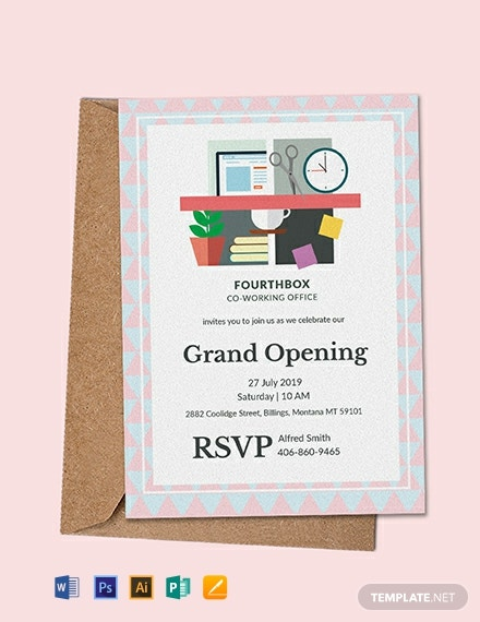 image regarding Office Hours Template Word called Free of charge Workplace Opening Invitation Card Template - Phrase PSD