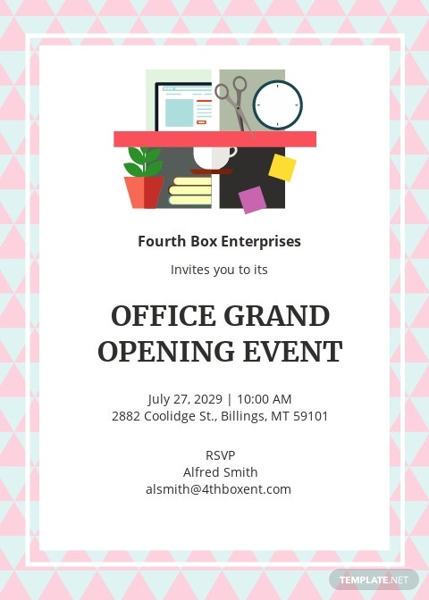 Office Opening Invitation Card Template