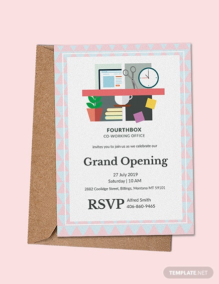 free office opening invitation card template download 344