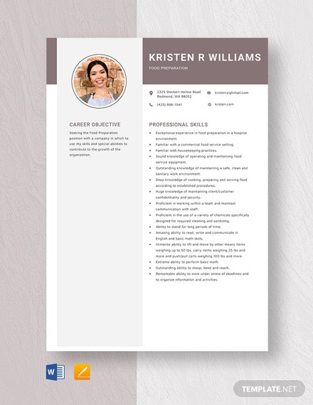 Food Preparation Resume Template