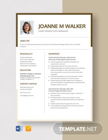 Food Production Manager Resume Template