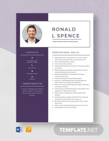 Food Production Supervisor Resume Template