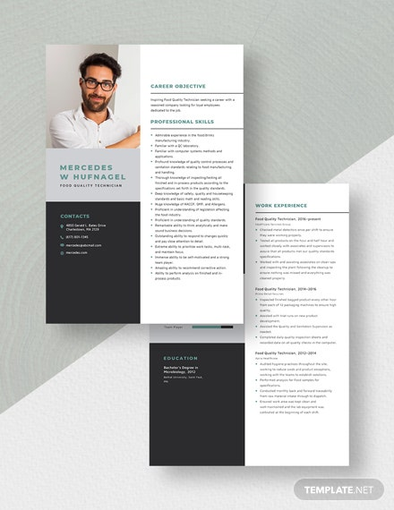 Food Quality Technician Resume Download