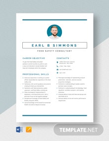 Food Safety Consultant Resume Template