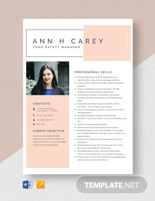 Food Safety Manager Resume Template