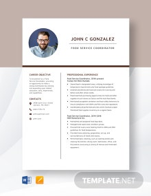Food Service Coordinator Resume Template