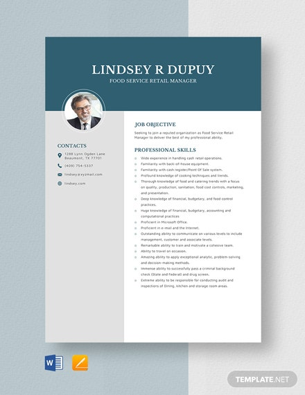 Food Service Retail Manager Resume Template