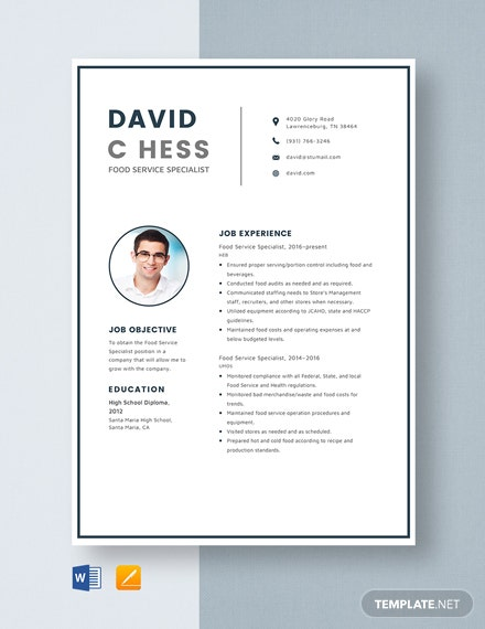 Food Service Specialist Resume Template